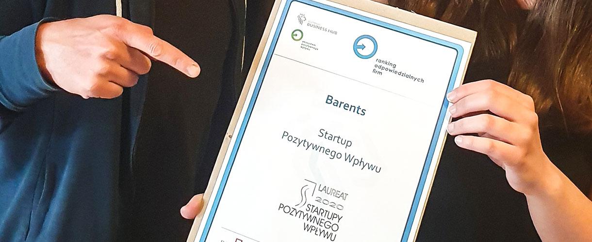 """Barents.pl laureatem """"Startupy Pozytywnego Wpływu 2020"""""""