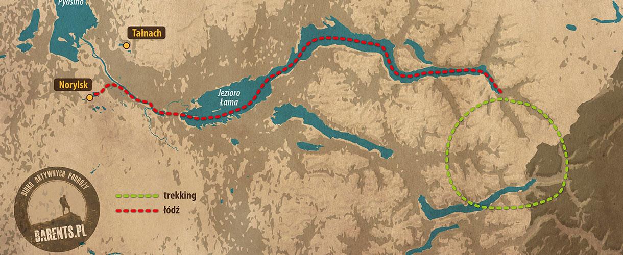 Plateau Putorana - mapa poglądowa trasy trekkingu © Barents.pl
