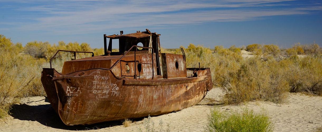 Mujnac - pozostałości Morza Aralskiego. Uzbekistan i Turkmenistan. Wielkie cywilizacje Azji Środkowej © Paweł Gardziej, Barents.pl