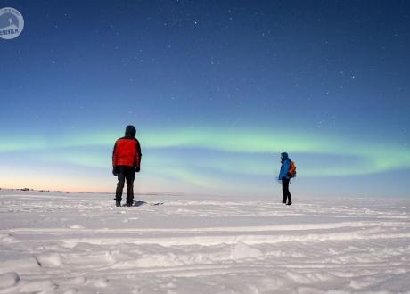 Zorza polarna podczas wyprawy na nartach biegowych do Finlandii fot. © Mateusz Kuszela, Barents.pl