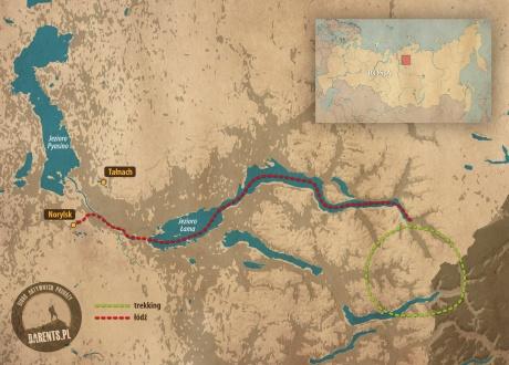 Plateau Putorana - mapa poglądowa trasy © Barents.pl