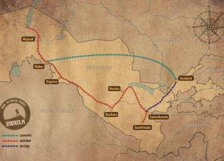 Ramowy plan podróży. Wycieczka po Uzbekistanie z Barents.pl